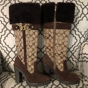 COACH Brown Signature Luci Boots